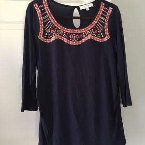 Stitch Fix Skies Are Blue Maternity Navy Top